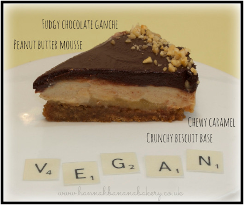 Hannah Banana's Vegan Caramel and Peanut Butter Chocolate Pie Slice