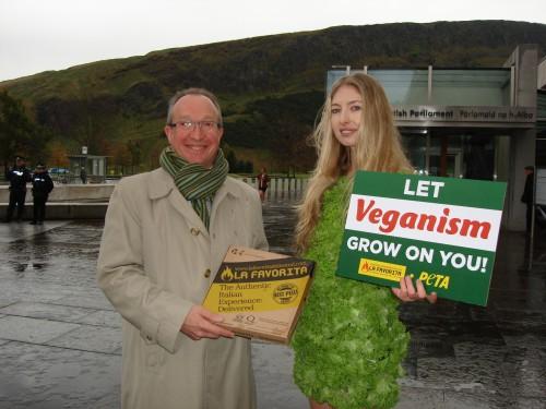PETA Vegan Pizza Scottish Parliament