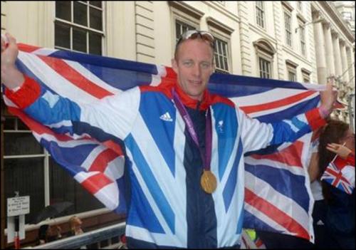 Dave celebrates gold medal at London 2012