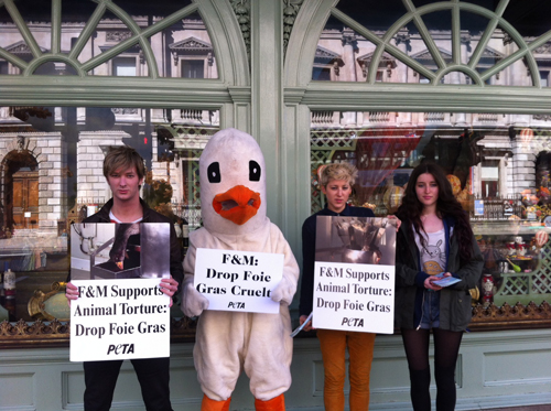 F&M foie gras protest 1st May 2013