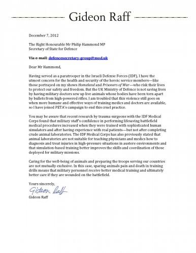 Gideon Raff PETA Letter