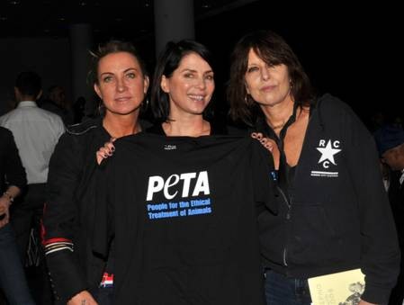 Chrissie, Meg and Sadie at PETA event