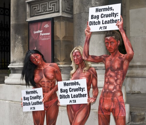 3 models skinned alive at the Hermes leather exhibition