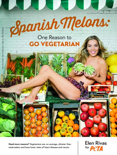 Model poses naked on fruit stand to spread vegetarian message