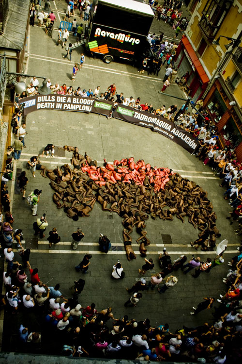 Pamplona Anti Bullfighting Demonstration 2011