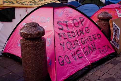 PETA's tent, with vegan messaging