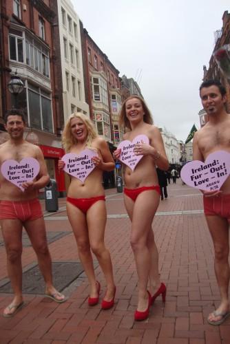 PETA and ARAN activists in Dublin