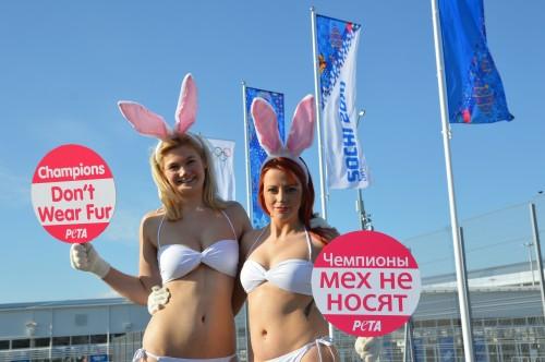 Champions Don't Wear Fur: PETA Russian Olympics Demo