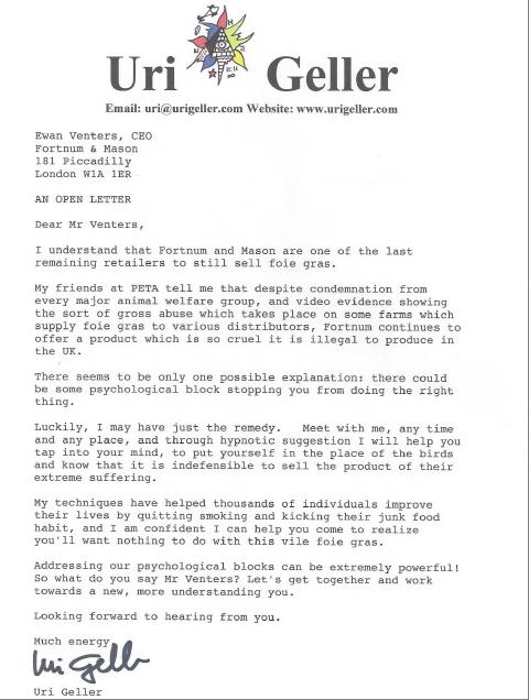 Uri Geller letter
