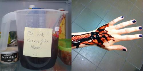 fake blood preparations for vegan demo