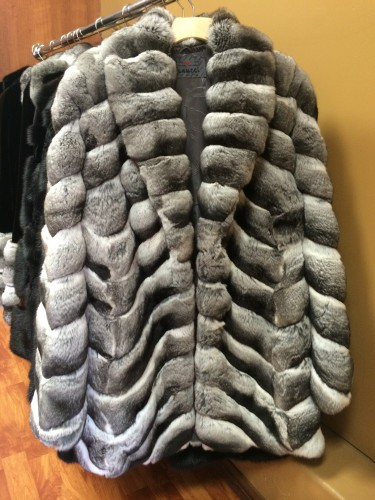 Chinchilla fur coat.
