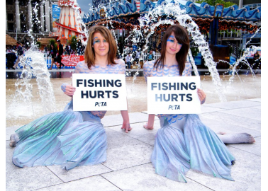 Topless 'Mermaids' Protest Fishing
