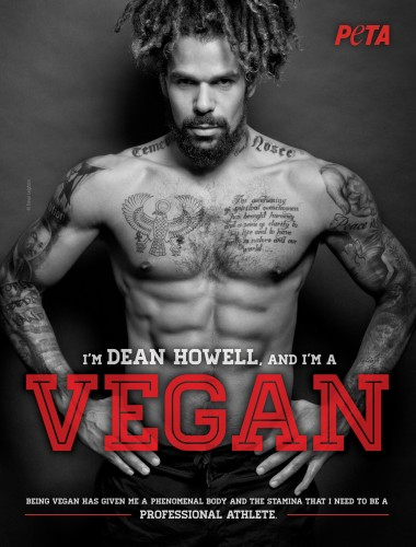 Footballer poses topless for PETA ad
