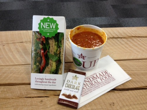 ... gluten-free hummus-and-veggie salad wrap and creamy soya porridge