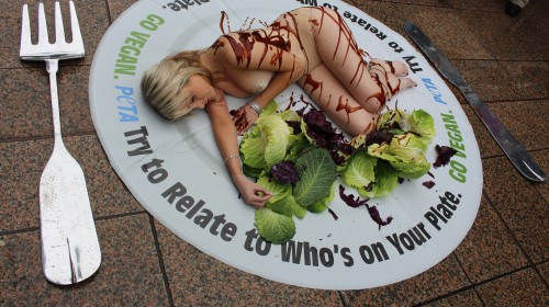 Sexiest vegan lady gets almost naked for PETA event