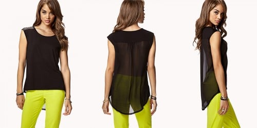 F21 Studded Chiffon Back Top