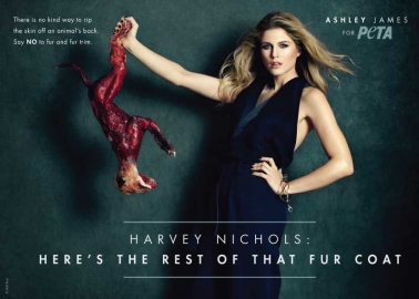 Ashley James Teams Up With PETA to Call On Harvey Nichols to Stop Selling Fur
