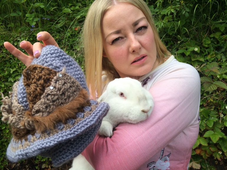 Emma, rocket the rabbit and hat