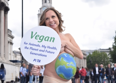 Sarah-Jane Honeywell Promotes Vegan Living in Bodypaint