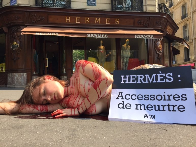 PETA France protest against Hermès cruelty to reptiles
