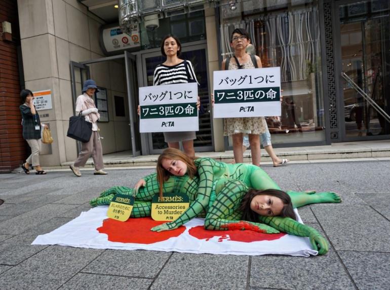 PETA Asia protest against Hermes in Japan