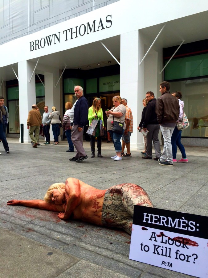 Activist painted to look like reptile protests on Grafton Street for PETA