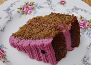 Jasmine's raspberry cake from selfsufficientcafe.blogspot.co.uk