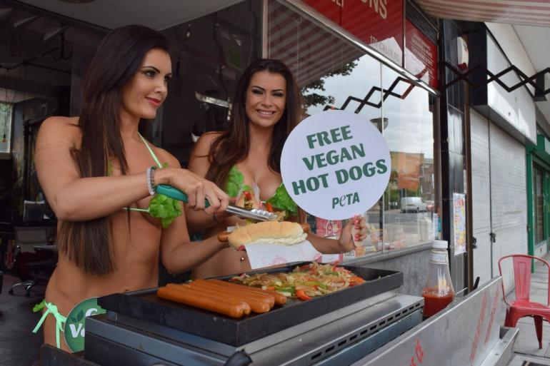 Vegan hot dog giveaway in former London butcher shop