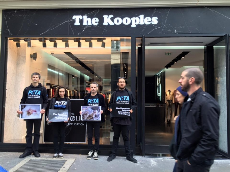 PETA France protest The Kooples for angora and fur