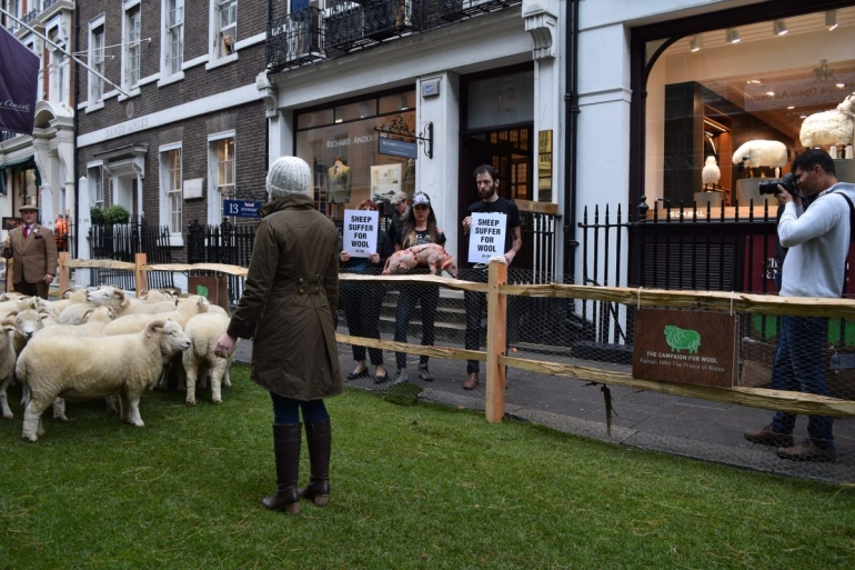 PETA protest on Savile RoW