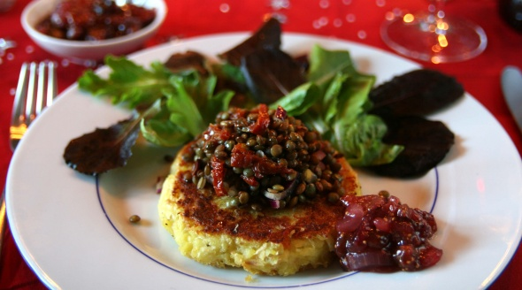 Vegan Christmas Root Vegetable Fritter with Chutney