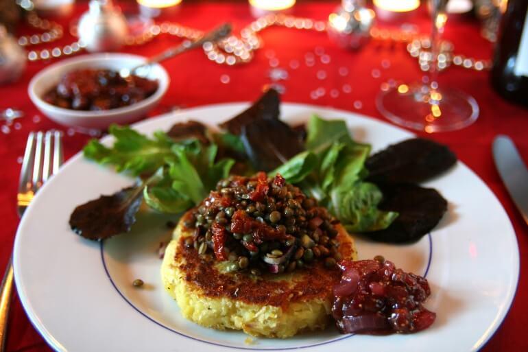 Vegan Christmas Root Vegetable Fritter with Chutney