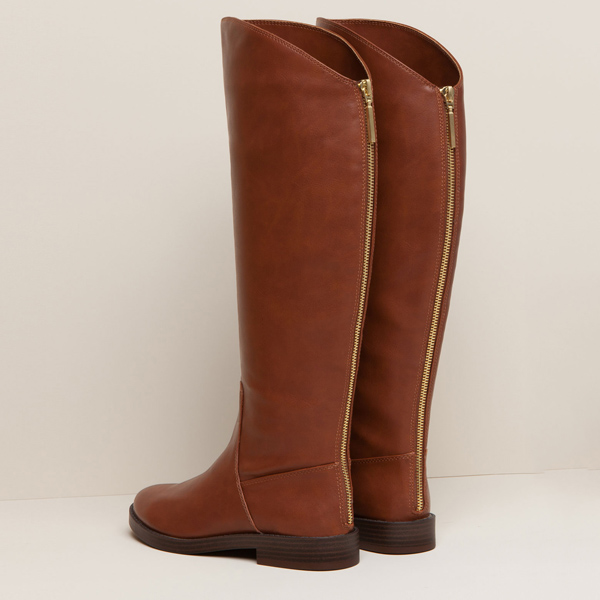 Pull&Bear Zip Up Tan Boots