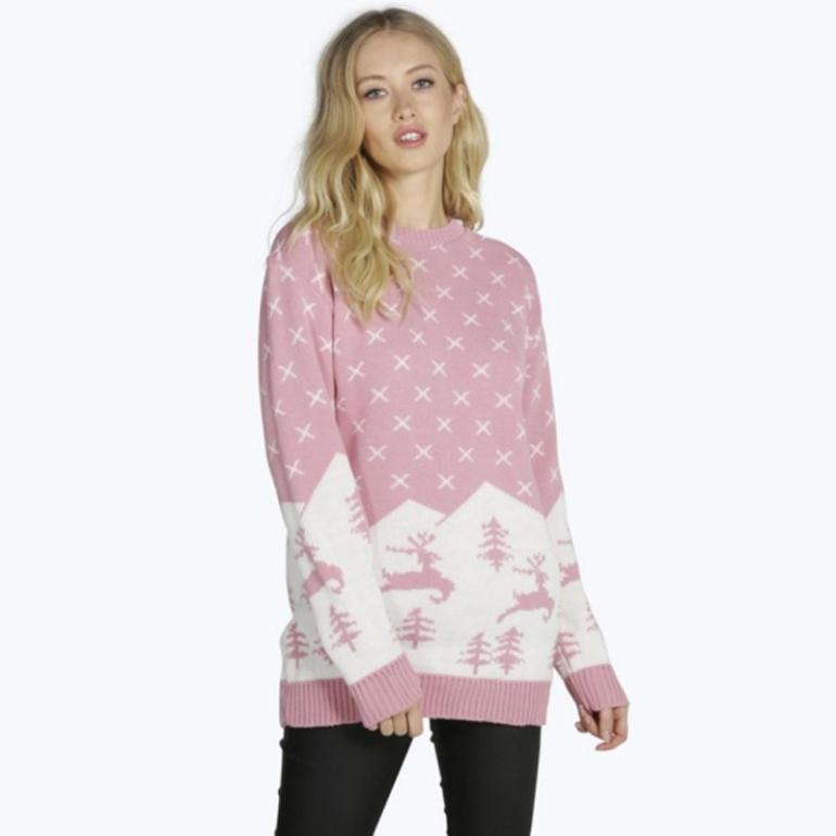 BooHoo Wool Free Pink Christmas Jumper