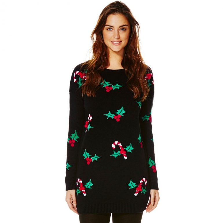 F&F Holly Christmas Jumper Wool Free