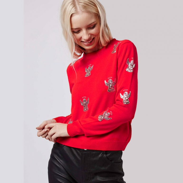 Topshop Angel Christmas Jumper Wool Free