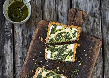 Recipe: Áine Carlin's Mouth-Watering No-Bake Vegan Pesto Tart