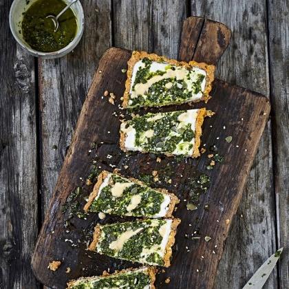 Recipe: Áine Carlin's Mouth-Watering No-Bake Vegan Pesto Tart