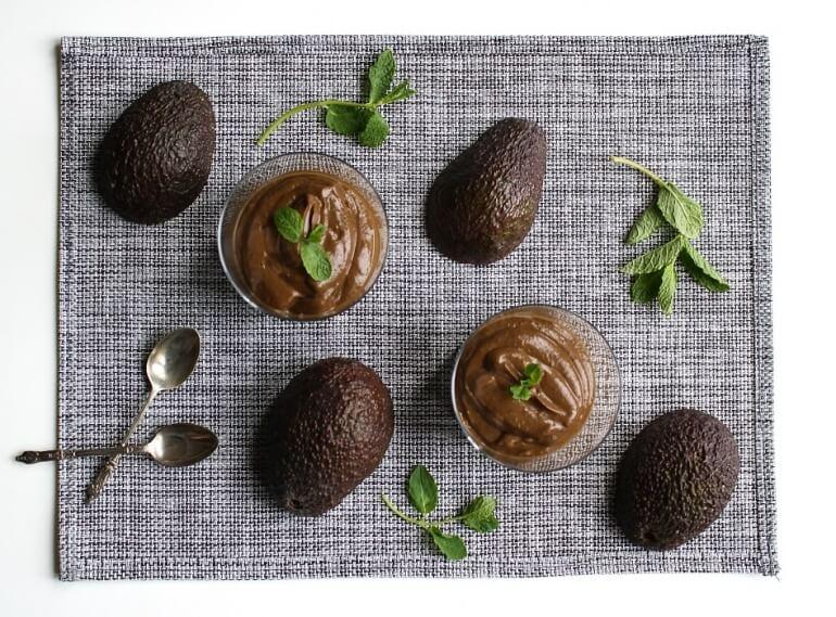 mint chocolate avocado pudding