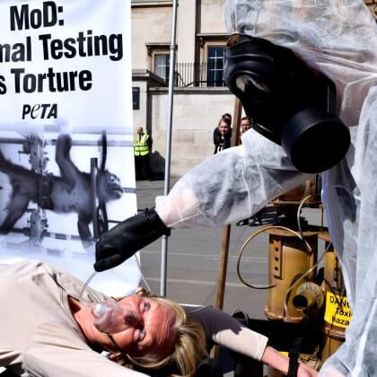 Ingrid Newkirk in Trafalgar Square protest against monkey experiments