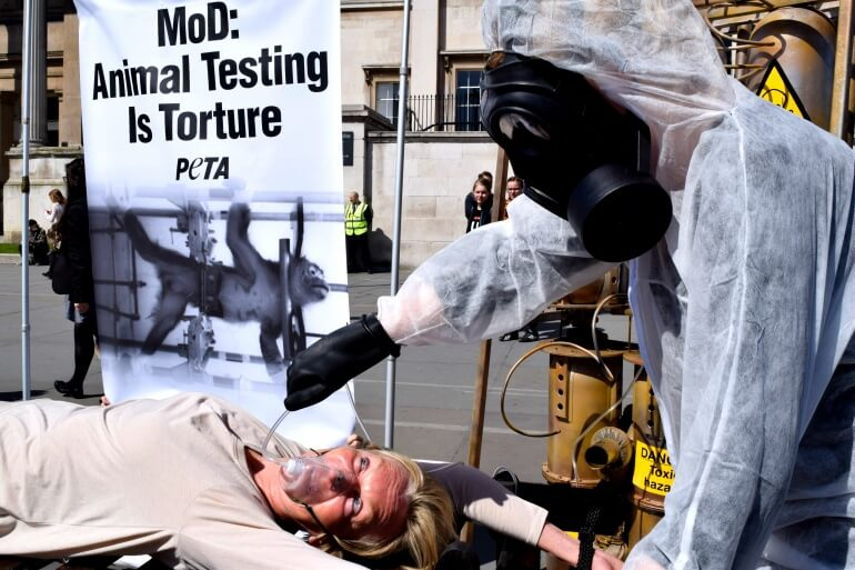 Ingrid Newkirk in Trafalgar Square protest against monkey experiments