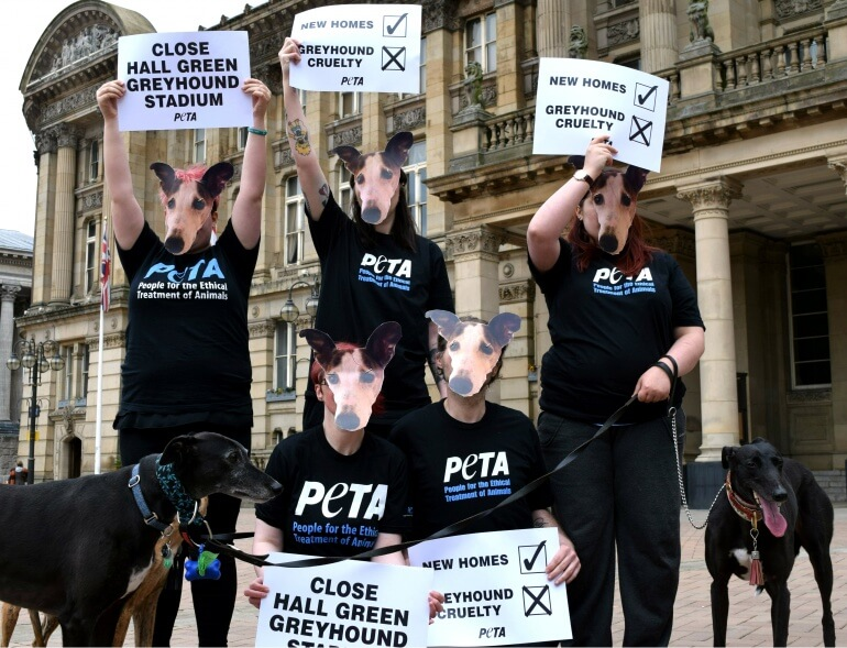 Protest against greyhound races at Hall Green stadium