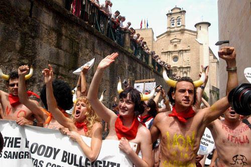 Pamplona crowd of activists
