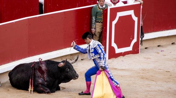 A matador prepares to deal the final blow to a bull during a bullfight.
