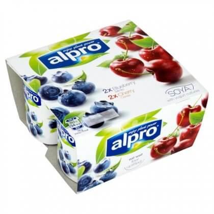 Alpro Soya Cherry Blueberry Vegan Dairy Free Yogurt