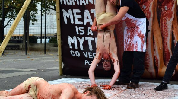Open-air 'Slaughterhouse' in Central London marks World Vegan Day