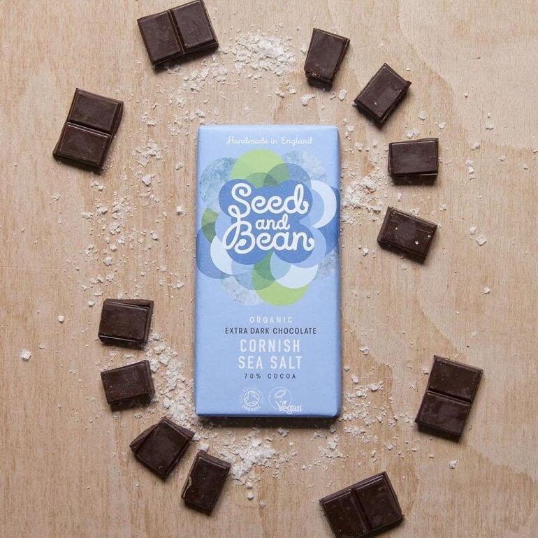Vegan Chocolate Seed and Bean Organic Extra Dark Chocolate With Cornish Sea Salt