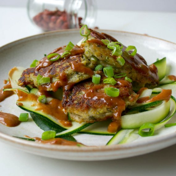 Courgette Fritters With Thai Peanut Sauce