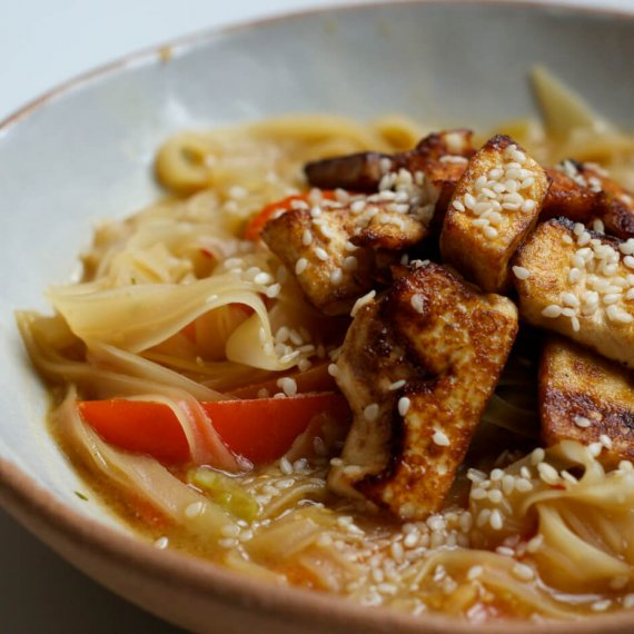 Miso Noodle Soup with Fried Tofu