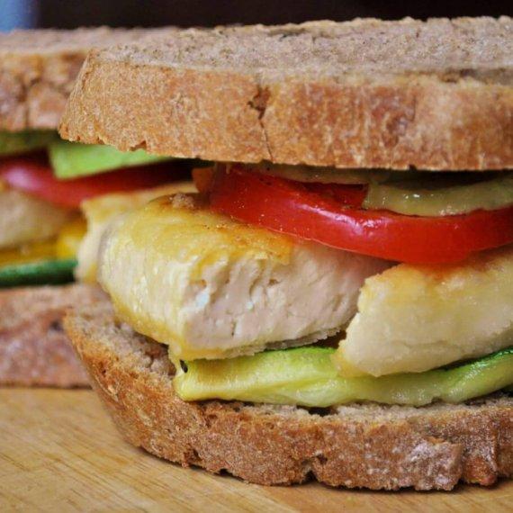 Tofu Cutlet and Roasted Veg Sandwich